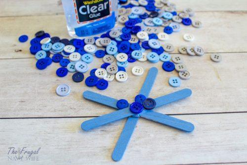 Easy DIY Button Snowflake - Popsicle Stick Snowflake Craft Design