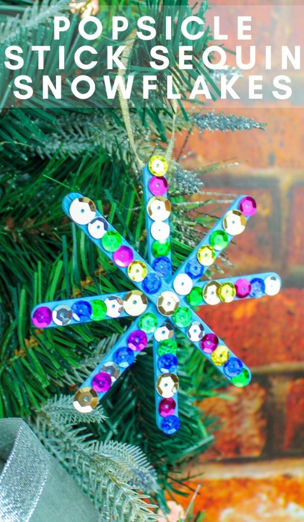 My kids love doing popsicle stick crafts. Here is our Popsicle Stick Snowflake Craft it was a great way to get the kids distracted during the holiday break! #frugalnavywife #popsiclestickcrafts #snowflakes #easycraftsforkids #diy | Easy Crafts for kids | Snowflake Crafts | DIY Crafts | Winter Crafts for kids | Popsicle Stick Craft Ideas