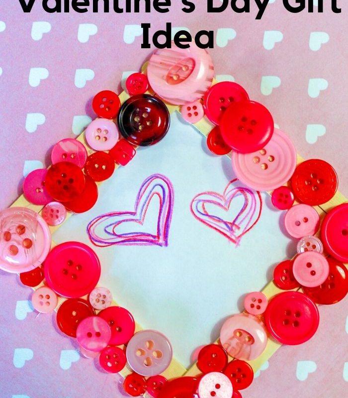 DIY Button Frame Valentines Day Gift Idea