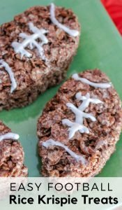 If you are planning a football party or tailgate party these Football Rice Krispie Treats need to be on the menu! Easy to make and everyone loves them! #tailgaiting #football #dessertrecipe #foodart #ricekrispietreats #frugalnavywife