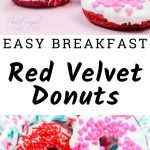 Red Velvet is perfect for Valentine's Day because of its rich red color. I am loving these Red Velvet Donuts, they make the perfect Valentine's Day Donuts. #valentinesday #donuts #doughnuts #redvelvet #breakfast #frugalnavywife | Easy Donuts | Valentine's Day Breakfast | Valentine's Day Foods | Red Velvet Recipes | Donut Recipes