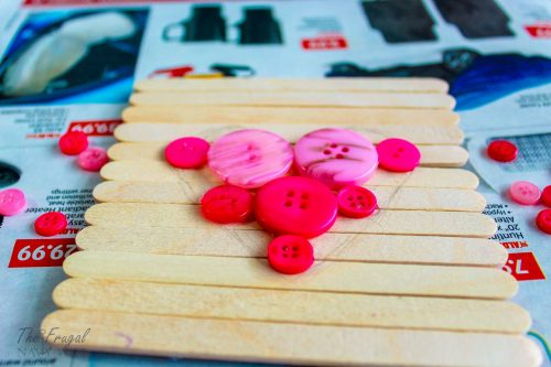 Valentine's Day Button Heart Popsicle Stick Frame Craft