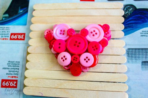 Valentine's Day Button Heart Popsicle Stick Frame