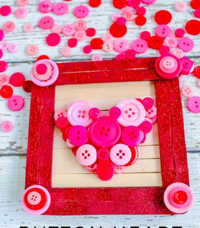 Easy Valentine's Day Button Heart Popsicle Stick Frame Craft