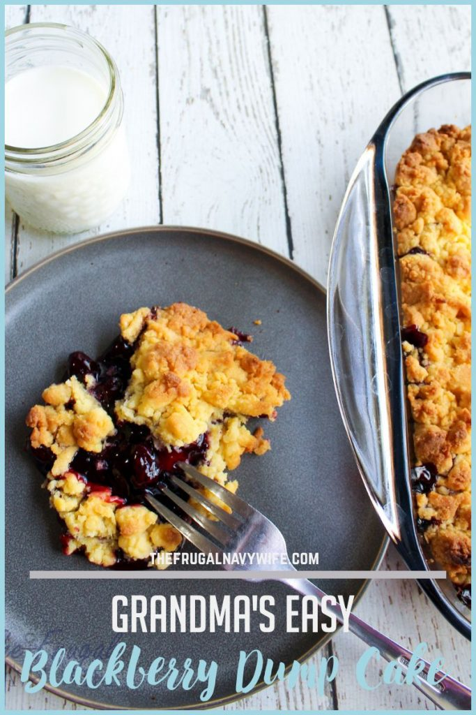 I have many dessert recipes but none are easier than Grandma's Easy Blackberry Dump Cake Recipe. Dump, mix, bake. Simple. 3 ingredients! YUM! #frugalnavywife #dumpcake #dumprecipe #desserts #easydesserts #grandmasrecipe #blackberryrecipe | Dump Cake Recipes | Easy Dessert Recipes | Cake Recipes | Fruit Recipes | 3 Ingredient Dessert Recipes | Grandmas Recipes | Dessert Recipes