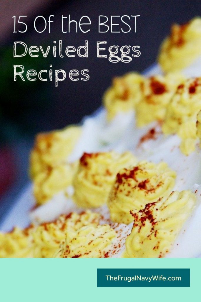 Deviled eggs are popular in my house, we love them all year long. I've tested many Deviled egg recipes but these make my top 15 BEST Deviled Eggs Recipes. #frugalnavywife #deviledeggs #appetizers #fingerfoods #eggrecipe #recipe | Deviled Eggs Recipes | Deviled Eggs Ideas | Finger Foods | Appetizer Ideas | Recipes with Eggs