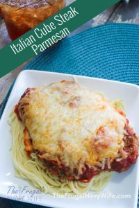 Looking for easy weeknight meal cube steak recipes? This one is simple and easy and your kids will love it! This Italian Parmesan Crusted Steak is yummy! #thefrugalnavywife #cubesteakrecipe #easyweeknightmeal #dinnerrecipe #tasty | Homemade Cube Steak Recipe | Dinner Ideas | Dinner Recipe | Easy Weeknight Meal | Easy Recipe | Family Favorite Recipes
