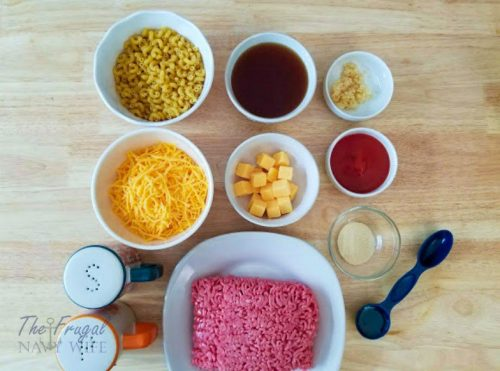 Instant Pot Cheeseburger Mac and Cheese ingredients