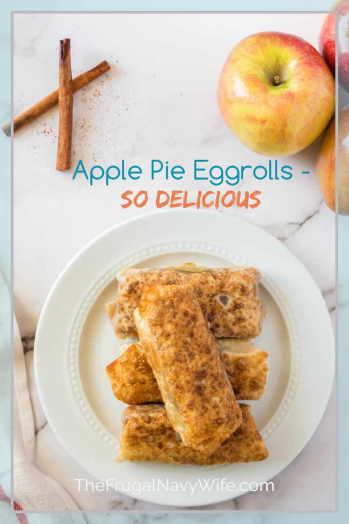 The traditional flavor of apple pie filling wrapped up in a crunchy shell. These apple pie egg rolls are an ideal fall afternoon treat. #applepierecipes #eggrolls #frugalnavywife #fallrecipes #thanksgiving #holidaydesserts #christmas | Thanksgiving Dessert | Fall Desserts | Apple Recipes | Apple Pie Recipes | Holiday Desserts | Christmas Desserts | Dessert Eggrolls | Easy Dessert Recipes | Single Serve Dessert Ideas
