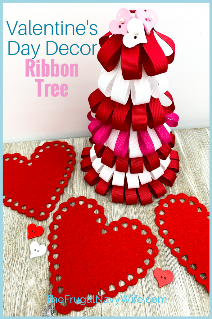 Perfect to use up old supplies you may have laying around! Make these Valentine's Day Ribbon Tree for the kids! #frugalnavywife #valentinesday #valentinesdaydecorations #easyvalentinecrafts #valentinesdaycrafts #frugaldiy #frugaldecorations | Valentine's Day Crafts | Easy Crafts for Kids | Ribbon Tree Crafts | Valentine's Day Decorations | Frugal Home Decor |