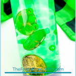 I like simple and easy kids' activities. We love this St. Patrick's Day Sensory Bottle for more reasons than one. #frugalnavywife #stpatricksday #sensorybottle #easykidsactivity #kidscrafts | Easy Kids Activity | Easy Kids Craft | Sensory Bottle | Calming Bottle Ideas | St. Patrick's Day Activities | St. Patrick's Day Crafts for Kids |