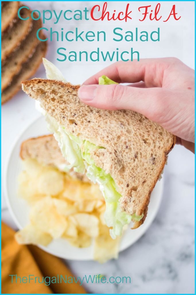The Chick fil A Chicken Salad Sandwich is the best and this simple copycat recipe is the perfect frugal recipe to try! #frugalnavywife #chicfila #copycat #recipe #lunch #dinner #chickensalad #sandwiches #chickfilarecipes | Chick Fil A Copycat Recipe | Chicken Salad Recipe | Easy Chicken Salad Recipe | Copycat Recipes | Chick Fil A Recipes | Easy Recipes | Dinner Ideas | Lunch Ideas | Yummy Eats