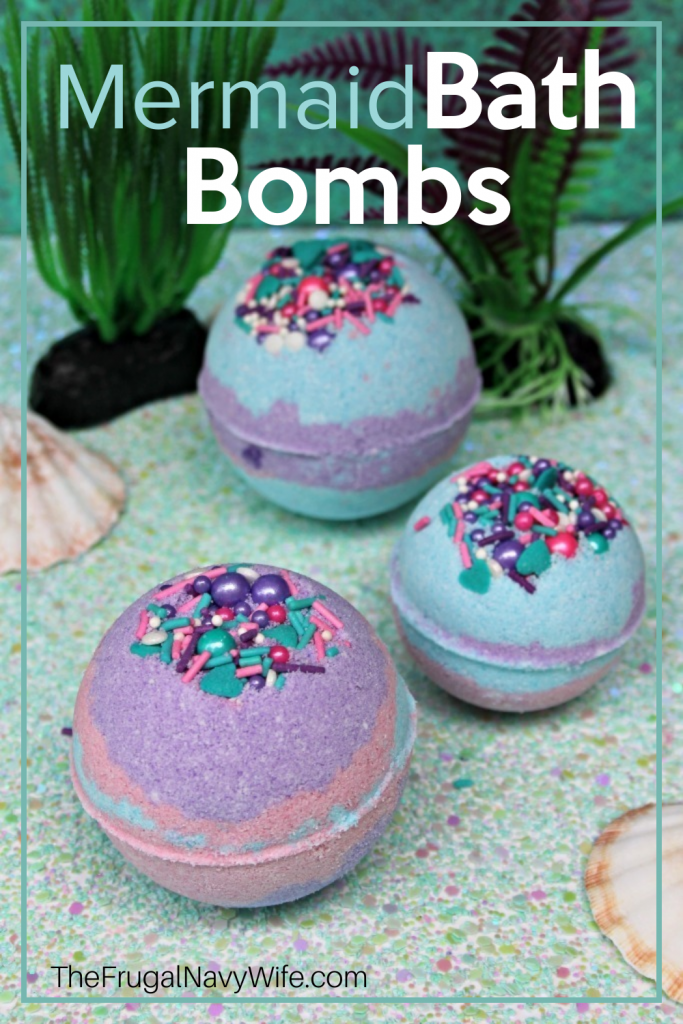 If you're looking for a good bath bomb recipe, you need this Homemade Mermaid Bath Bombs recipe in your life. So easy to make and fun to play with! #bathbombs #frugalnavywife #DIYbathbombs | Bathtime | Bath Bomb Addict | Bath Bomb | Bath Bombs | Bath Bombs for Days | Bath Art | Kids Activities | Homemade Bath Bombs | How to make Bath Bombs | Bth Fizzies