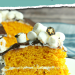 This Pumpkin S'mores Cake recipe is one dessert that your family will ask for again and again. Make sure you check this recipe out! #recipe #fall #dessertrecipe #dessert #smores #cake #pumpkin #frugalnavywife | Dessert Recipe | Fall Recipes | Smores Recipes | Pumpkin Recipes | Cake Recipes | Yummy Recipes | Pumpkin Cake Ideas