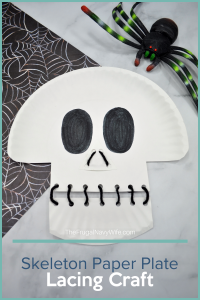 Get the kids involved this Halloween by helping you make this Skeleton Paper Plate Lacing Craft. It's simple, fun, and will get your home ready for the holiday. | Holidays | Halloween | Paper Plate Crafts | Skeleton | Crafts for Kids | Fun Crafts | Family Crafts