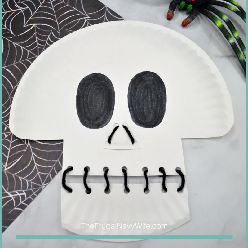 Skeleton Paper Plate Lacing Craft